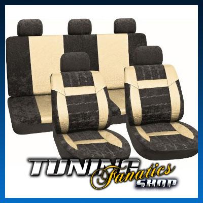 funda asientos piel terciopelo cuadros negro beis dacia. Black Bedroom Furniture Sets. Home Design Ideas