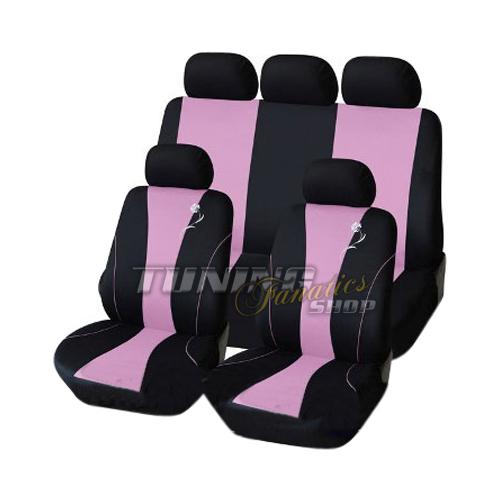 Housse de protection pour siege auto voiture noir rose 21 for Housse voiture rose