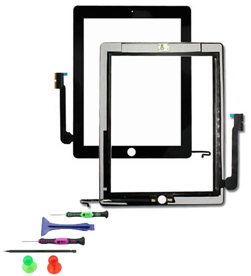 touchscreen glas display digitizer scheibe front f r apple ipad 3 schwarz ebay. Black Bedroom Furniture Sets. Home Design Ideas