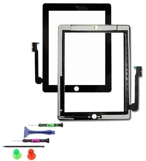 touchscreen glas display digitizer scheibe front f r apple ipad 4 schwarz. Black Bedroom Furniture Sets. Home Design Ideas