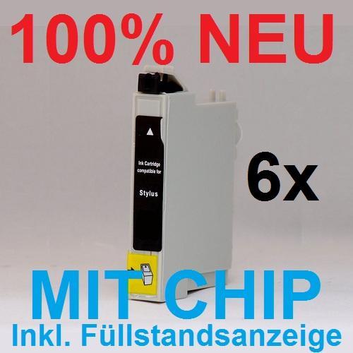 6x drucker kartusche schwarz f r epson stylus photo px820fwd px830fwd. Black Bedroom Furniture Sets. Home Design Ideas