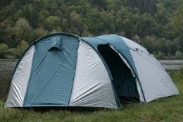 campfeuer kuppelzelt iglu zelt mit vorbau f r 3 4 personen silber gr n sport. Black Bedroom Furniture Sets. Home Design Ideas