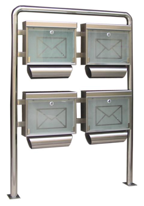 edelstahl 4fach standbriefkasten briefkastenanlage baumarkt. Black Bedroom Furniture Sets. Home Design Ideas