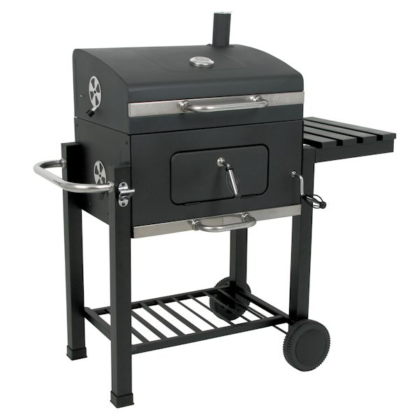 holzkohle grillwagen black oak bbq smoker barbecue grill ebay. Black Bedroom Furniture Sets. Home Design Ideas