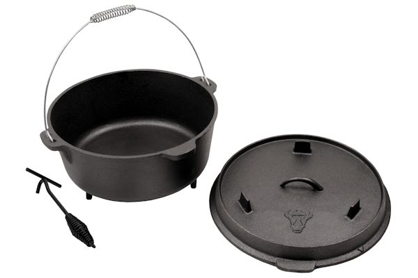 dutch oven mit deckelheber do12 11 5 liter gusseisen kessel ebay. Black Bedroom Furniture Sets. Home Design Ideas