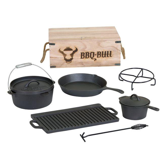 BBQ-Bull® - Dutch Oven Set in Holzkiste Gusseisen eingebrannt, 7-teilig