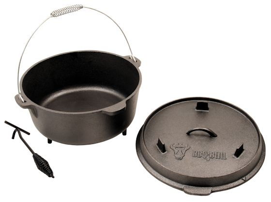 bbq bull dutch oven mit deckelheber do12 11 5 liter gusseisen kessel. Black Bedroom Furniture Sets. Home Design Ideas