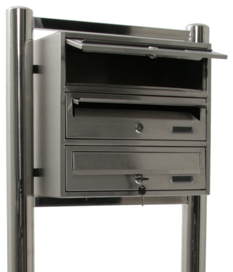 edelstahl standbriefkasten briefkasten anlage 3 fach ebay. Black Bedroom Furniture Sets. Home Design Ideas