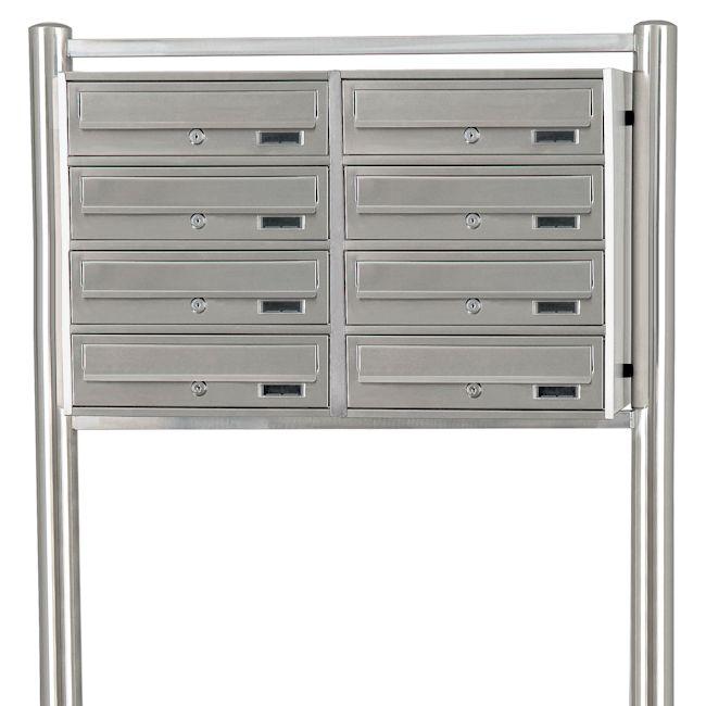 8 fach edelstahl briefkastenanlage standbriefkasten briefkasten 8 f cher ebay. Black Bedroom Furniture Sets. Home Design Ideas