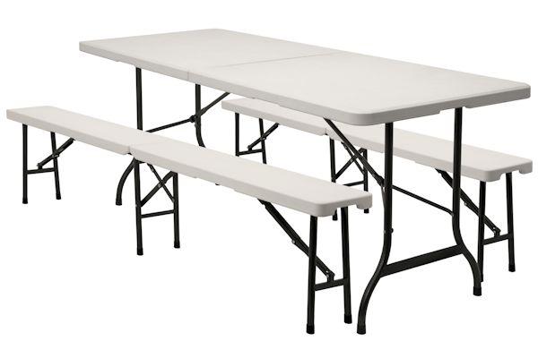 1 x falttisch 2 x sitzbank klapptisch bierzelt tisch 180x75cm campingtisch. Black Bedroom Furniture Sets. Home Design Ideas