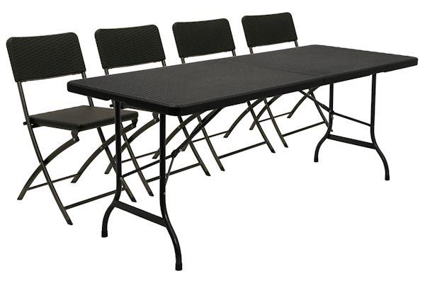 1 x falttisch 4 x klappstuhl klapptisch bierzelt tisch 180x75cm campingtisch. Black Bedroom Furniture Sets. Home Design Ideas