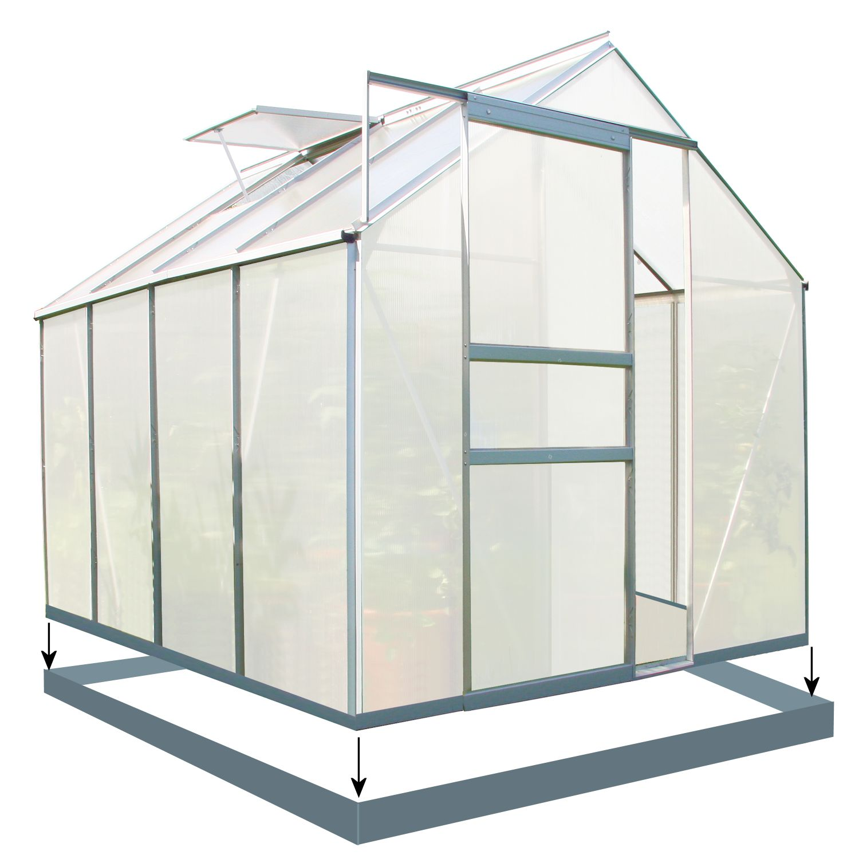 zelsius gew chshaus 6 mm verglasung aluminium 4 75m neu mit stahlfundament. Black Bedroom Furniture Sets. Home Design Ideas