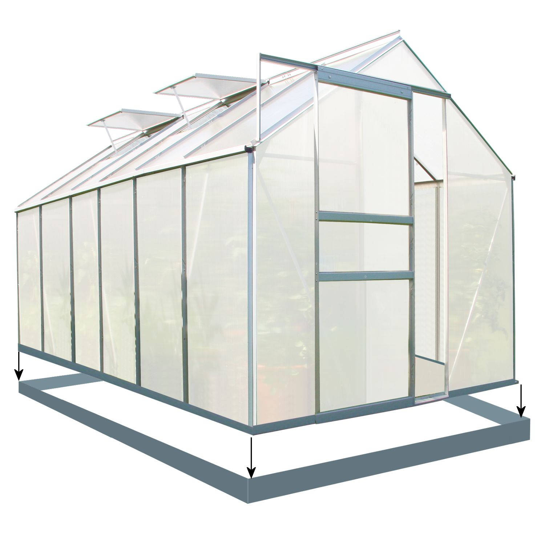 zelsius gew chshaus mit stahlfundament aluminium gartenhaus 7 6 m. Black Bedroom Furniture Sets. Home Design Ideas