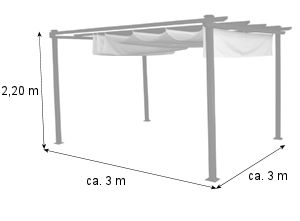 campfeuer pergola 3x3m markise standmarkise terrassen sonnenschutz. Black Bedroom Furniture Sets. Home Design Ideas