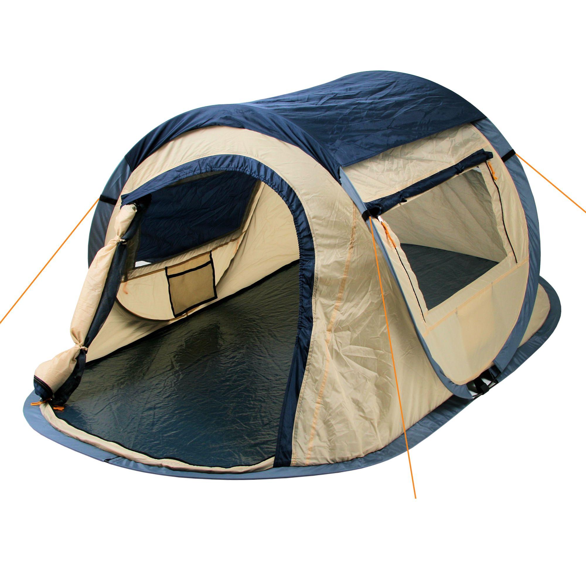 campfeuer pop up zelt wurfzelt automatik quicktent 2 blau ebay. Black Bedroom Furniture Sets. Home Design Ideas