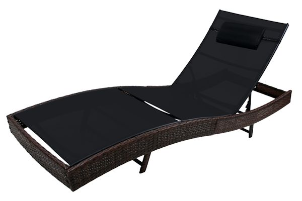 zelsius rattan sonnenliege 220 x 70 x 40 cm braun. Black Bedroom Furniture Sets. Home Design Ideas