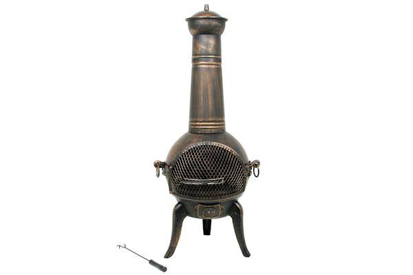 """BBQ-Bull® - Terrassenkamin \""""Sevilla\"""", bronze, mit Grillrost"""