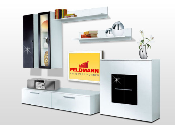 wohnwand anbauwand weiss schwarz hochglanz b ware ebay. Black Bedroom Furniture Sets. Home Design Ideas