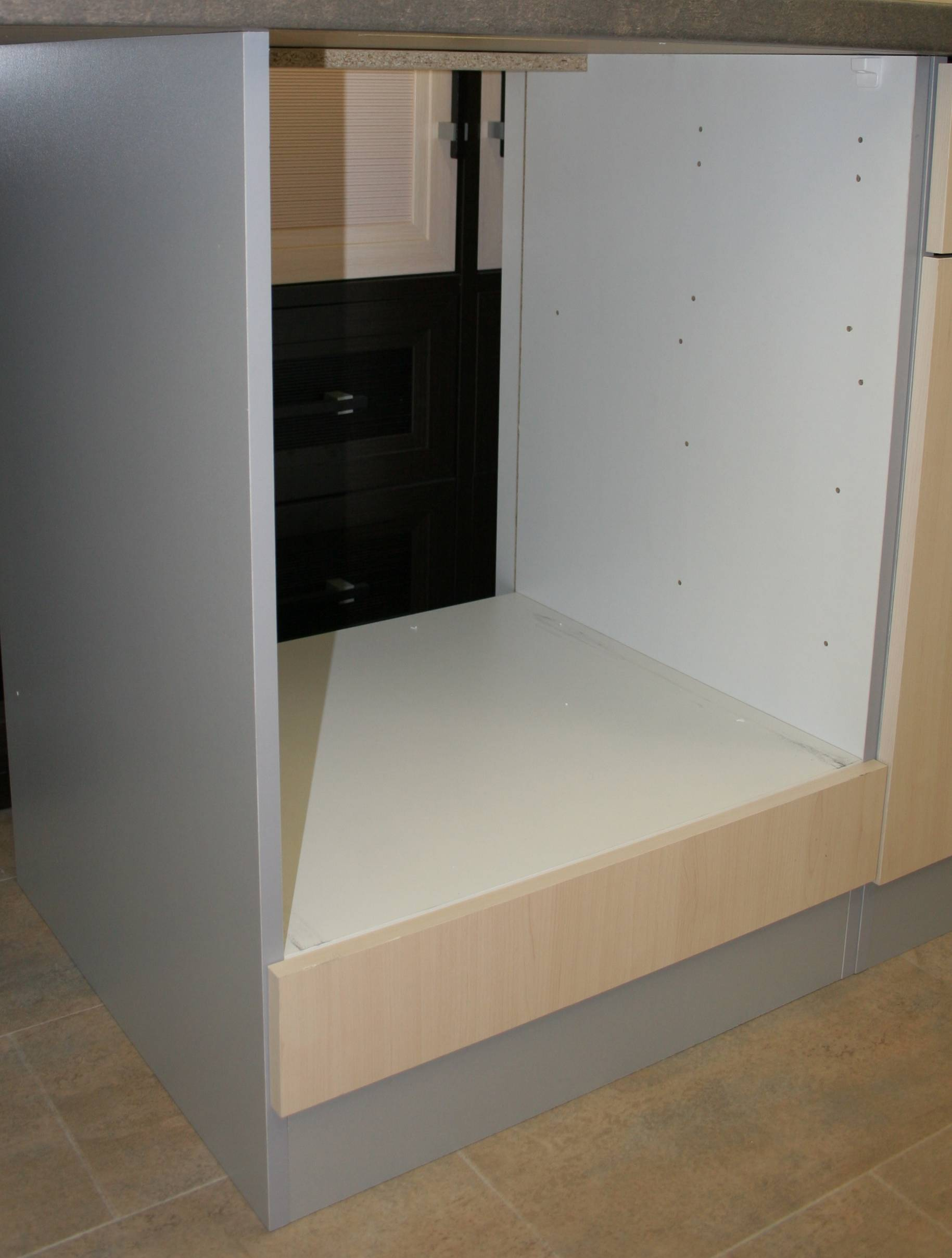 PISA Herdumbauschrank 60 cm breit 82 cm hoch birke alu
