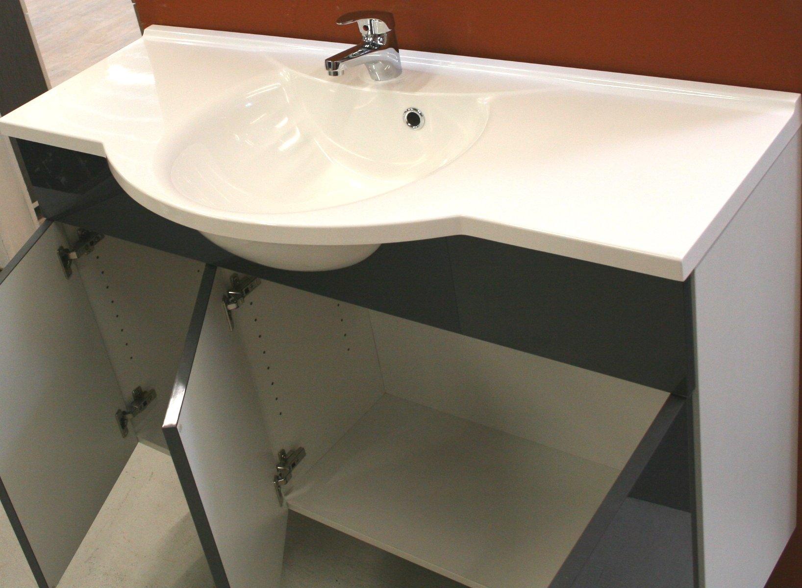 musterbad sischo trend waschtischunterschrank anthrazit gl nz incl waschtisch ebay. Black Bedroom Furniture Sets. Home Design Ideas