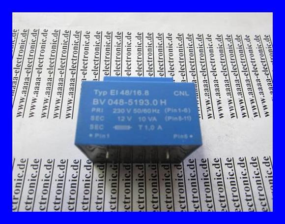 Print-Trafo-230V-50-60Hz-12V-10VA-Typ-EI48-16-8-BV-048-5193-0H-1-Stueck
