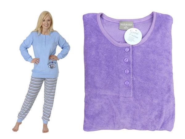 damen frottee pyjama schlafanzug knopfleiste action 53695 ebay. Black Bedroom Furniture Sets. Home Design Ideas