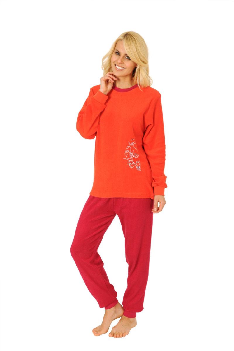 damen frottee pyjama schlafanzug mit rundhals uni 54611 ebay. Black Bedroom Furniture Sets. Home Design Ideas