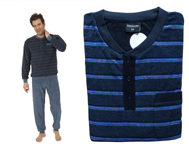 herren frottee pyjama schlafanzug knopfleiste ringel. Black Bedroom Furniture Sets. Home Design Ideas