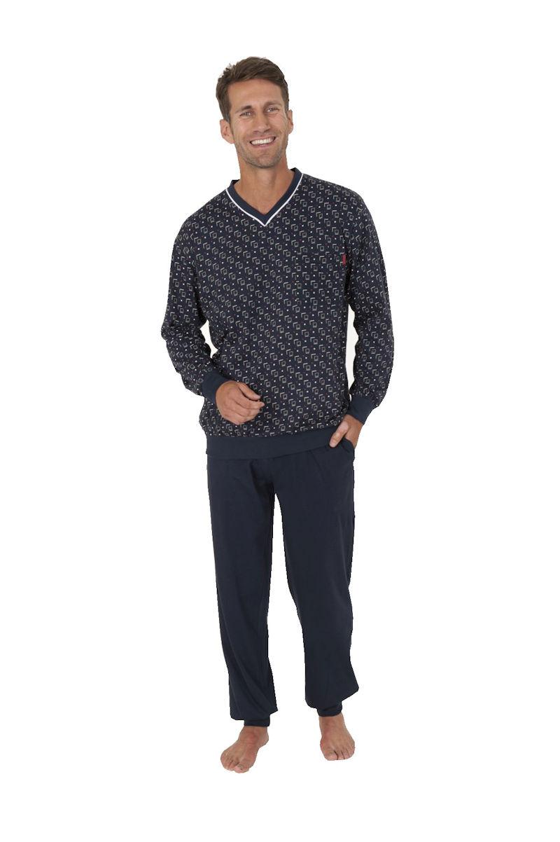 herren pyjama schlafanzug v hals allover uni hose b ndchen bergr en 57072 ebay. Black Bedroom Furniture Sets. Home Design Ideas
