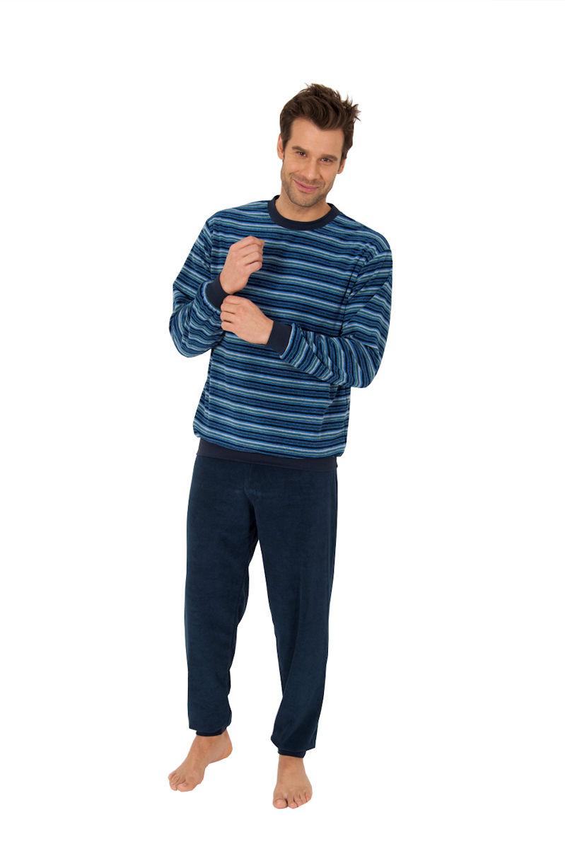 herren frottee pyjama schlafanzug rundhals langarm. Black Bedroom Furniture Sets. Home Design Ideas