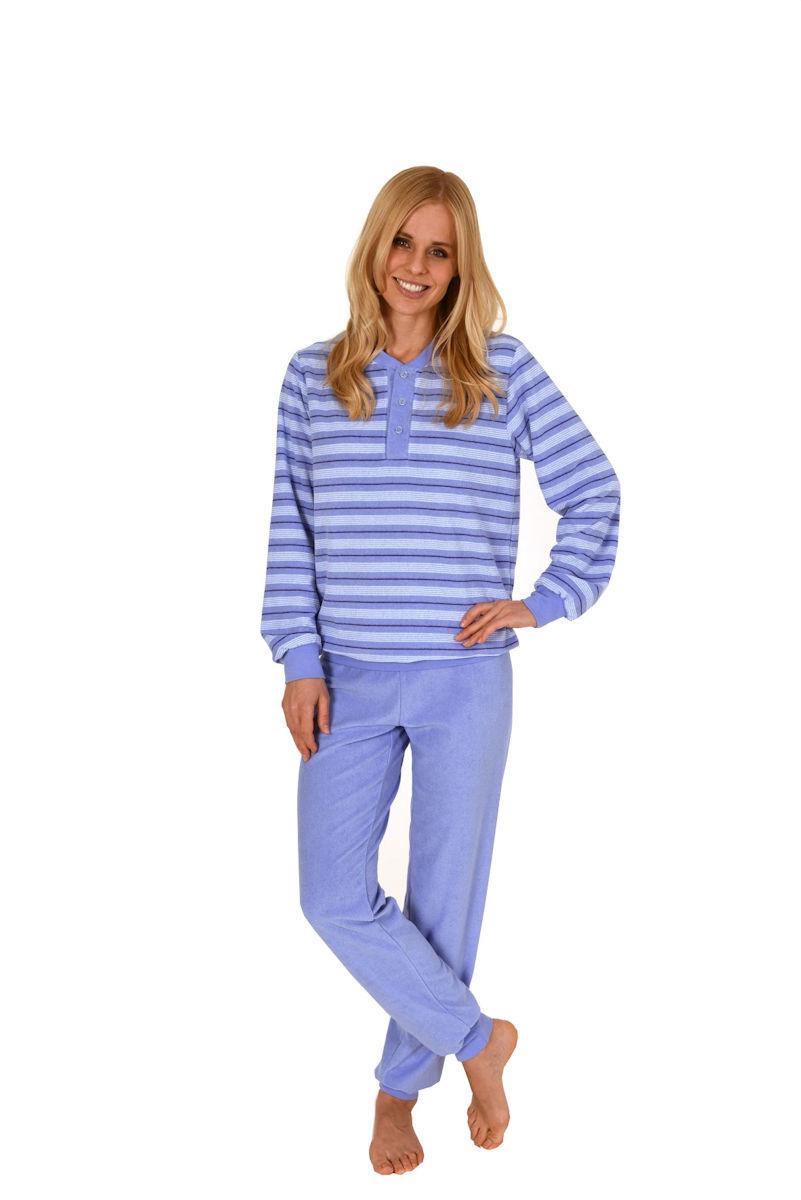 damen frottee pyjama schlafanzug knopfleiste streifen. Black Bedroom Furniture Sets. Home Design Ideas