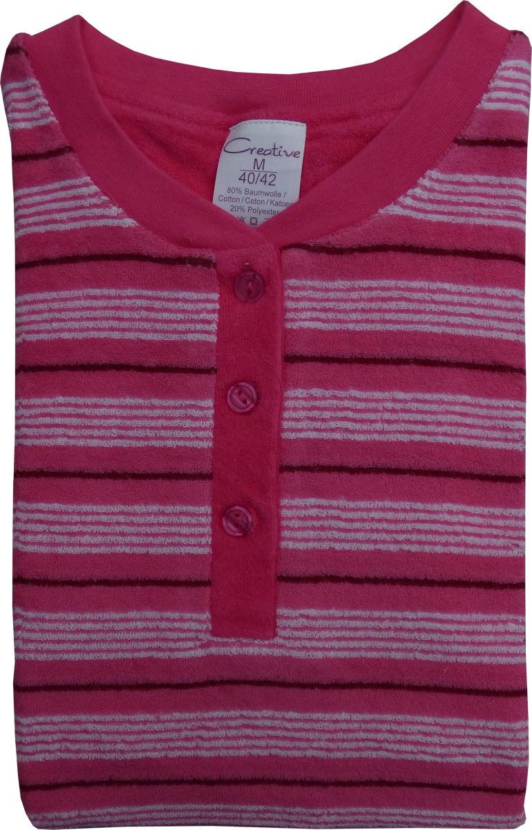 damen frottee pyjama schlafanzug knopfleiste streifen b ndchen 57633. Black Bedroom Furniture Sets. Home Design Ideas