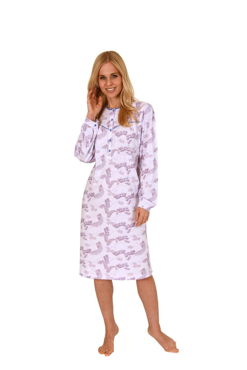 damen nachthemd 110 cm knopfleiste langarm baumwolle bergr en 57935 ebay. Black Bedroom Furniture Sets. Home Design Ideas