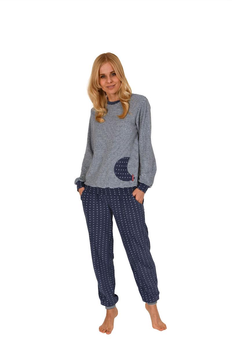 damen polar frottee pyjama schlafanzug rundhals ringel. Black Bedroom Furniture Sets. Home Design Ideas