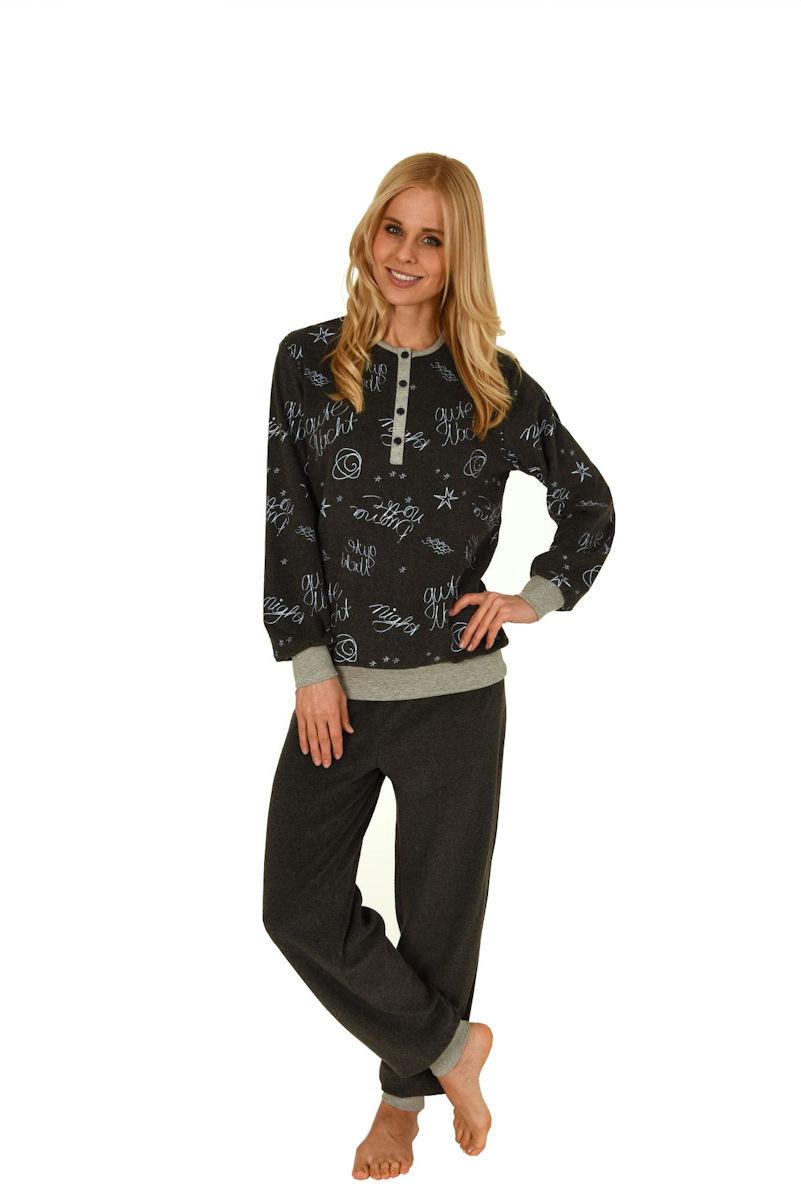 damen polar frottee pyjama schlafanzug knopfleiste oberteil allover 57992 ebay. Black Bedroom Furniture Sets. Home Design Ideas