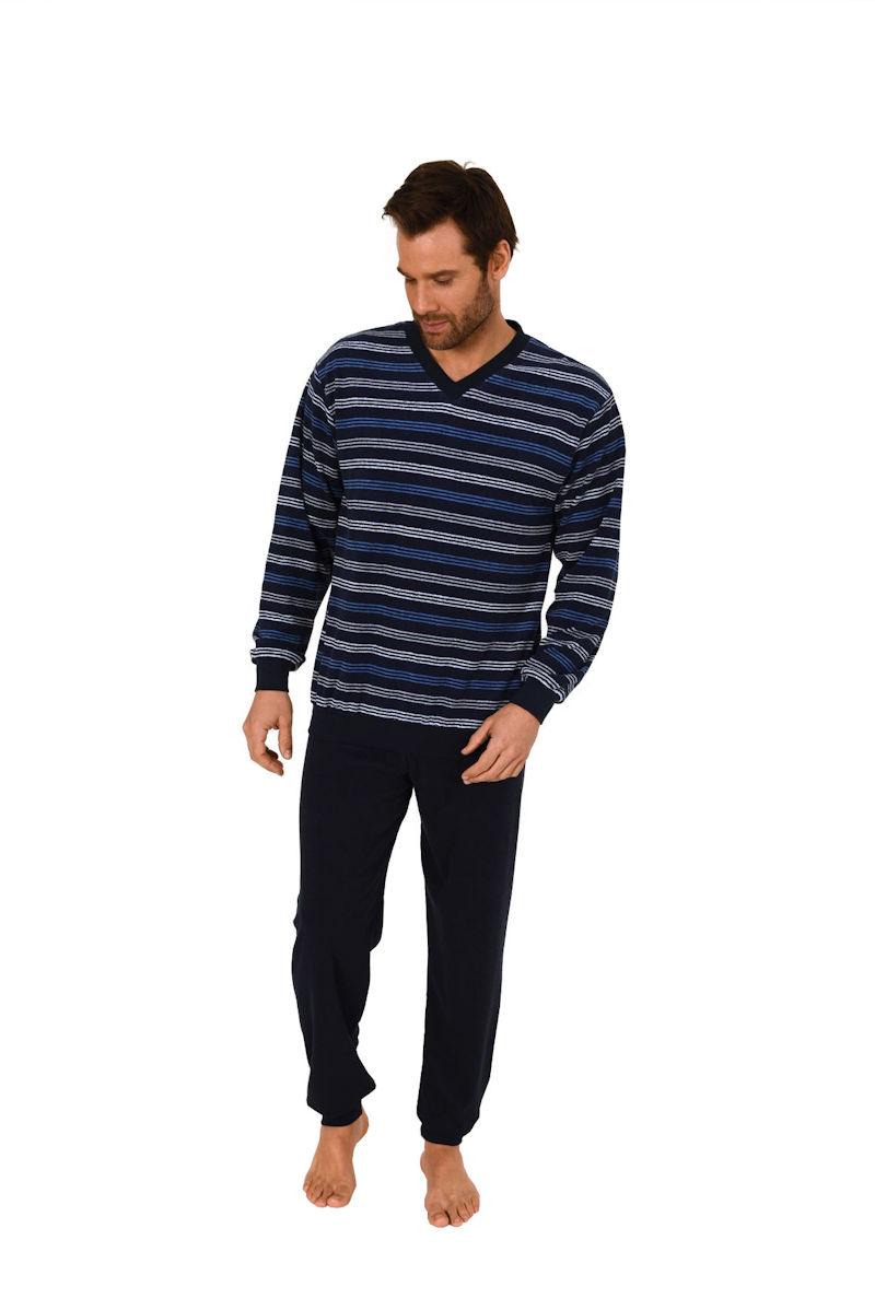 herren frottee pyjama schlafanzug v hals ringel b ndchen. Black Bedroom Furniture Sets. Home Design Ideas