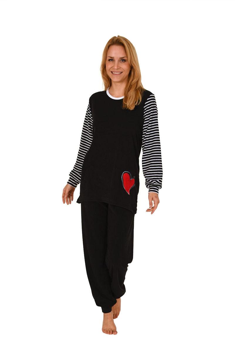 damen frottee pyjama schlafanzug rundhals ringel b ndchen uni hose 58319 ebay. Black Bedroom Furniture Sets. Home Design Ideas