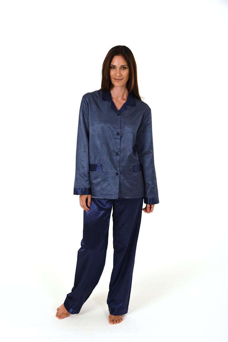 damen satin pyjama schafanzug nachtw sche duchgekn pft. Black Bedroom Furniture Sets. Home Design Ideas