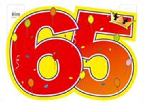 1 large door sign number 65 birthday party decoration. Black Bedroom Furniture Sets. Home Design Ideas