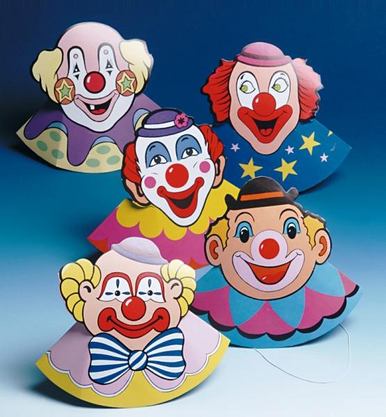 6 clown h te kinder geburtstags party h tchen spass zum basteln bunt neu ebay - Clown basteln kindergarten ...