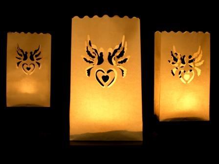 10 Papier Licht Tüten MOTIV AUSWAHL Design 26cm Tisch Hochzeits Dekoration NEU