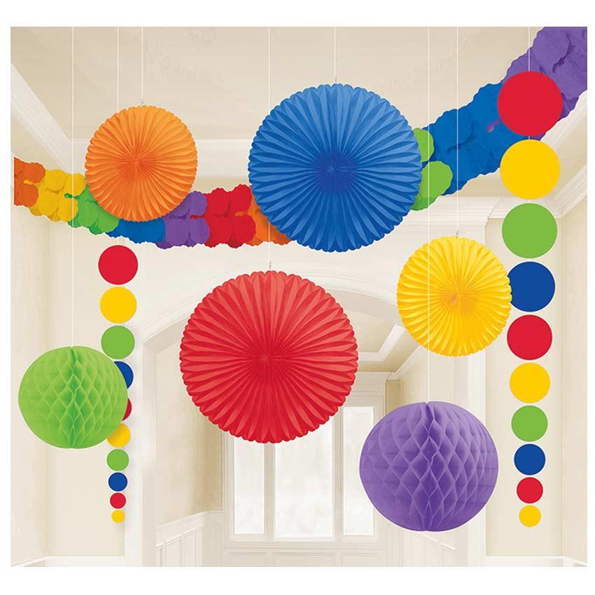 Deko-Set-Papier-9teilig-Raum-Gestaltung-Feier-Fest-Haengen-farbig-Geburtstag-NEU