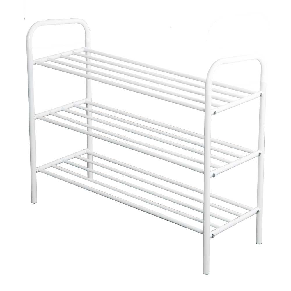 stabiles schuhregal wei metall breite 80 tiefe 30 cm h he w hlbar top ebay. Black Bedroom Furniture Sets. Home Design Ideas