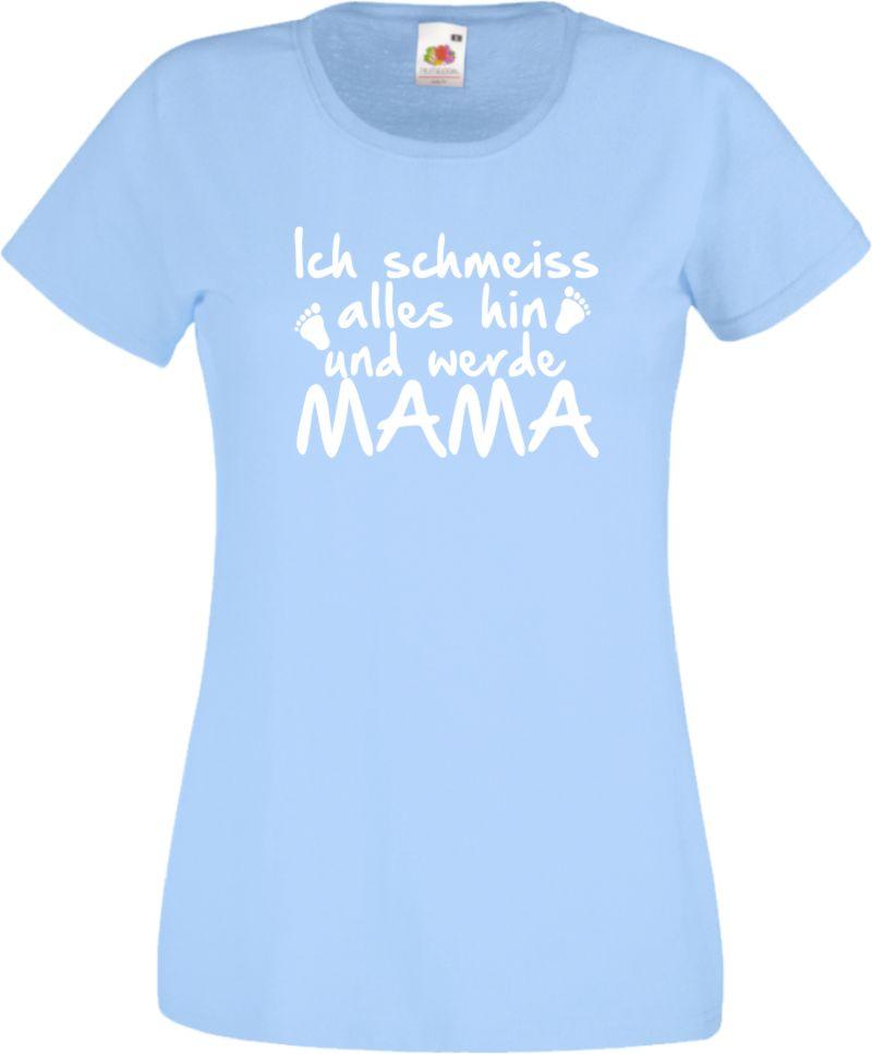 ich schmei alles hin und werde mama damen t shirt f r schwangere geburt fun ebay. Black Bedroom Furniture Sets. Home Design Ideas