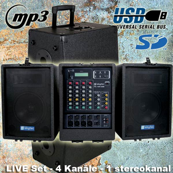 MOBILE-PA-ANLAGE-Mischpult-Verstaerker-Boxen-MP3-Player-Rollkoffer-System-NEU
