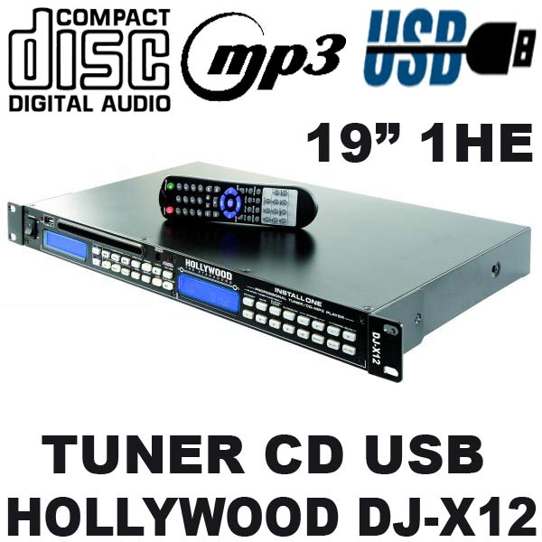 PA-CD-PLAYER-TUNER-Radio-USB-MP3-Hollywood-DJ-X12-NEU
