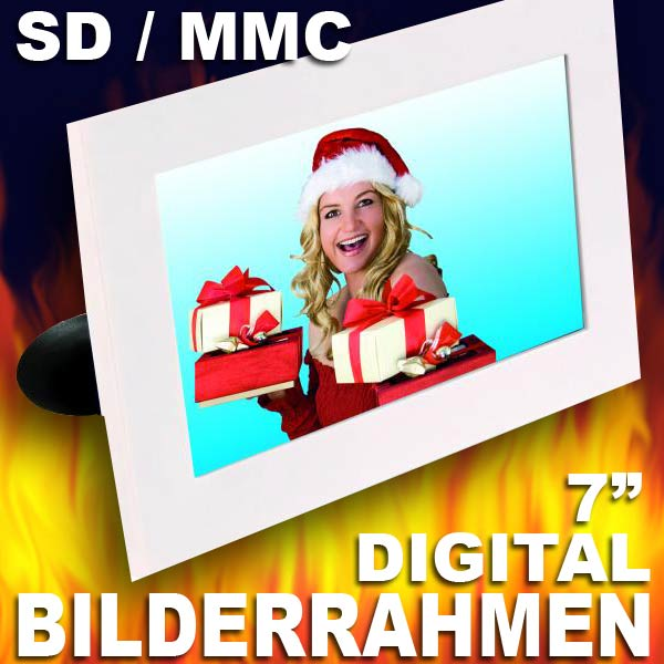 7 18cm digitaler bilderrahmen sd mmc coby dp700 diashow weiss neu ebay. Black Bedroom Furniture Sets. Home Design Ideas