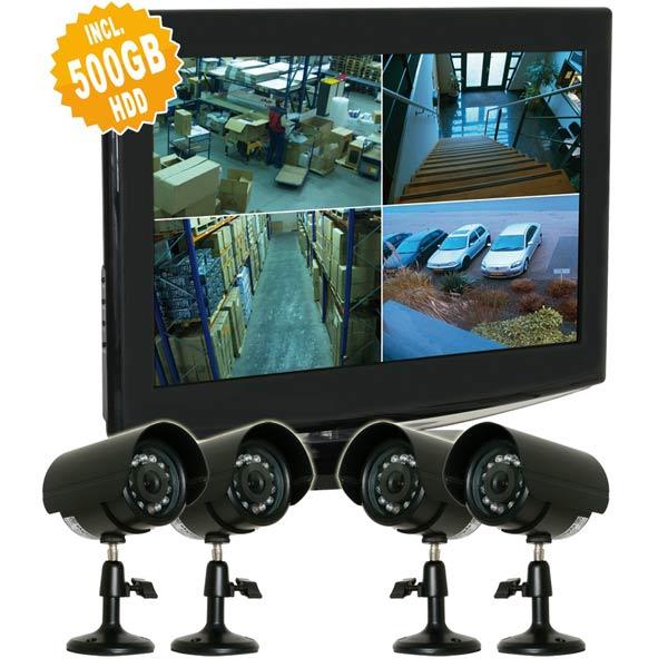 video berwachung set 4x kamera recorder monitor 500gb festplatte skytronic eur 679 00. Black Bedroom Furniture Sets. Home Design Ideas
