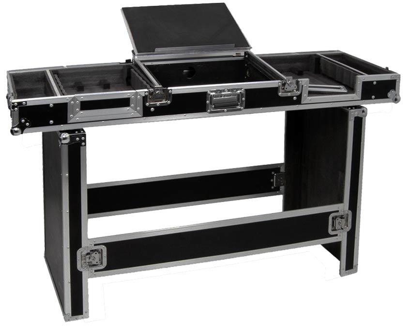 flightcase 19 rack case dj station tisch rollkoffer power. Black Bedroom Furniture Sets. Home Design Ideas