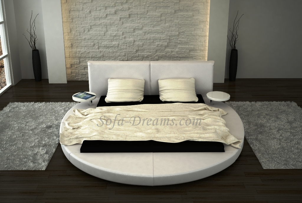 rundbett roma designerbett bett polsterbett mit nachttischen kaufen bei. Black Bedroom Furniture Sets. Home Design Ideas